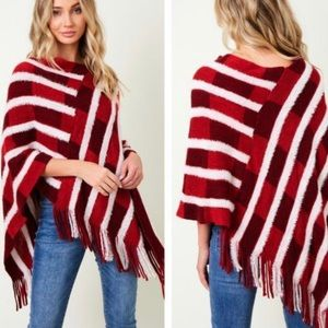 Sweaters - Striped Red Color block Knitted Fringed Poncho